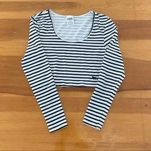 PINK Victoria Secret Blk/White Striped LS Crop Top